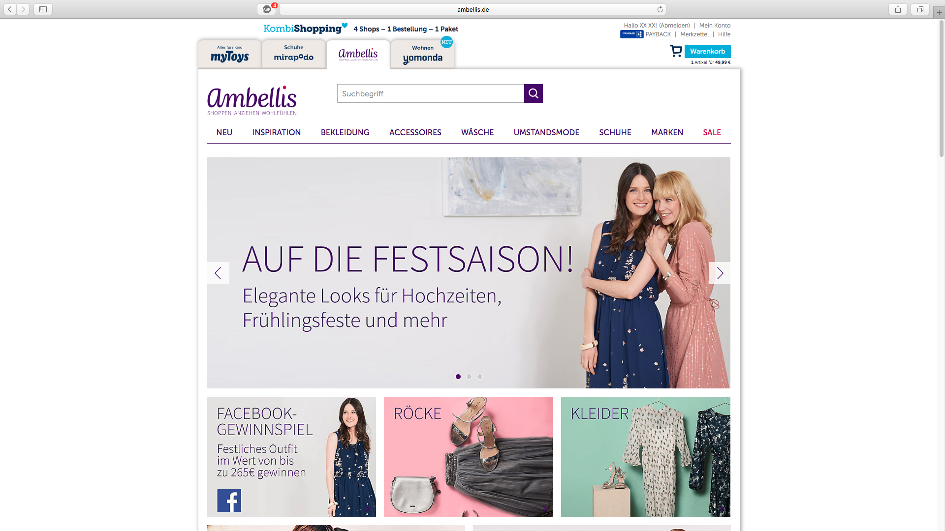 ambellis - Gutschein einlösen - Schritt 1